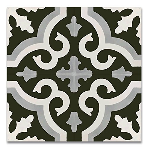 Moroccan Mosaic & Tile House CTP06-07 TangerCTP06-07 Tanger 8''x8'' Handmade Cement Tile in Multicolor (Pack of 12), Blue White - Tanger Style