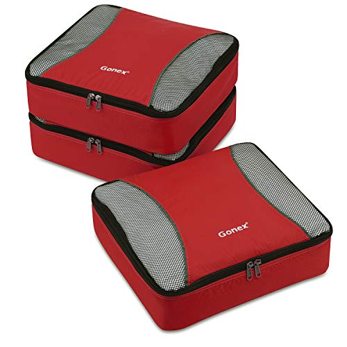 Gonex Packing Cubes 3 Set Travel Luggage Packing Organizers Pouches(Red)