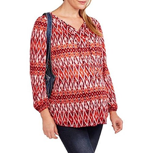 Faded Glory Womens Crinkle Peasant Top Size X-Large Geometric Long Sleeves Scoop Neck