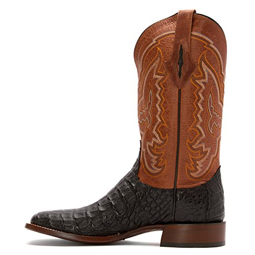 Lucchese Hombre Mano 1883 hornback Caiman – Cowboy Boot Square Toe Chocolate