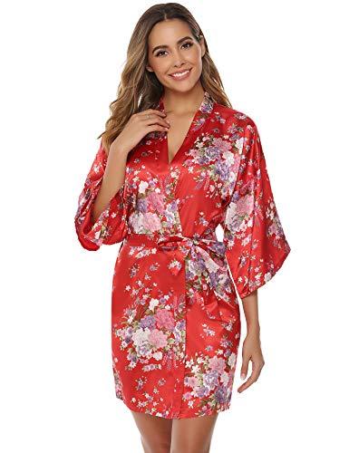 Aibrou Women's Floral Satin Robe Short Silk Bridesmaid Bathrobe Dressing Gown Wedding Kimono Sleepwear (Red, XX-Large)