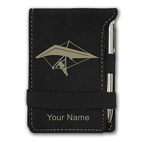 Price comparison product image Mini Pocket Notepad - Hang Glider - Personalized Engraving Included (Black)