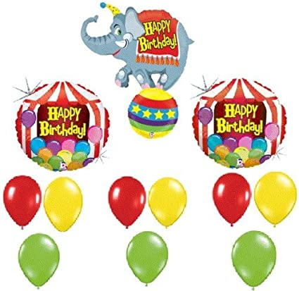 LoonBalloon CIRCUS Elephant TENT Big TOP Happy Birthday PARTY Mylar Latex BALLOONS Set KIT