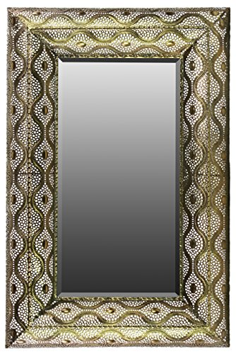 Urban Trends Metal Rectangular Wall Mirror Pierced Metal, Gold