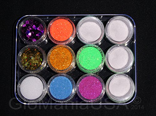 Nail Glitter Deco Set with Invisible GID Powder, Hearts & Butterflies