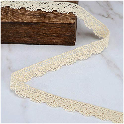 VU100 Cotton Scalloped Lace Trim Ribbon 10 Yards 1/2 Inches, Crochet Gift Wrapping Ribbon Lace Edge Trim, for Sewing Lace DIY Craft Beige Wedding Decor Ribbon ()