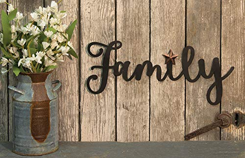 Decorative Metal Sign for Your Home, Family Black Metal Wall Hanger Art 14 W x 5.5 H Inches - Home Accent Decor- Modern Rustic Vintage Farmhouse Style (Art Metal Family Wall)