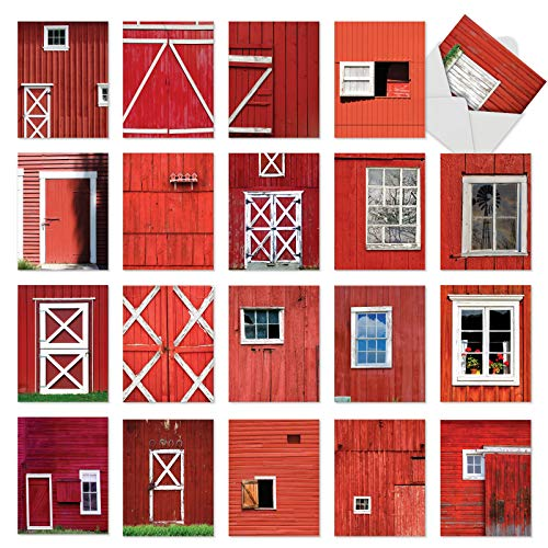 Red Barns: 20 Assorted Blank All Occasions Cards Featuring Nostalgic Closeup Images of Red and White Barns, with Envelopes. AM7033OCB-B1x20