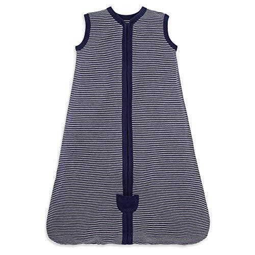 Burt's Bees Baby Baby Beekeeper Wearable Blanket, 100% Organic Cotton, Swaddle Transition Sleeping Bag, Midnight Stripe, Medium