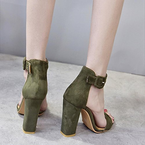 Cooljun Frauen Schnalle Damen Ankle High Heels Sandalen Block Party Schuhe Green