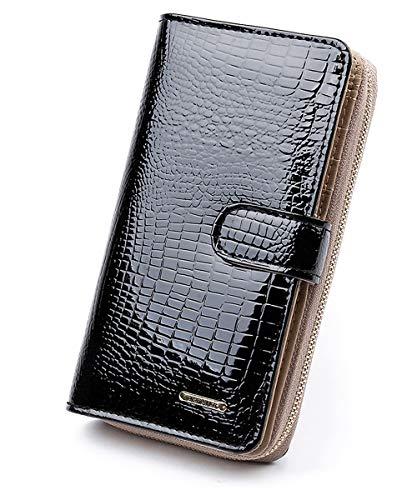 Qianxilu Women's 6.69 Inch Large Capacity Genuine Leather Clutch Wallet Phone Card Holder Organizer Ladies Purse (Black)