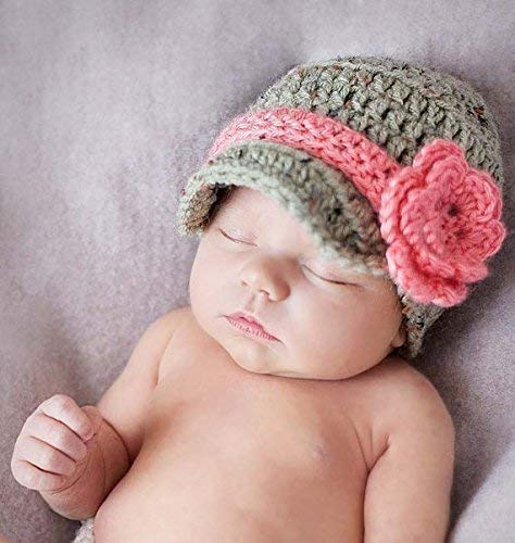 6638d8ccf16 Image Unavailable. Image not available for. Color  Newborn Baby Girl  Crochet Newsboy Hat ...
