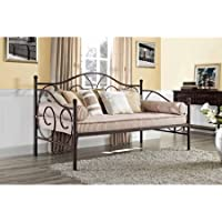 Victoria Metal Daybed, Multiple Colors Bronze metal frame Contemporary daybed design Finial detailing Brushed with finish Metal slates and supporting legs Product Dimensions: 77.5L x 41W x 46.5H