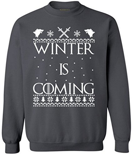 Winter Is Coming Ugly Christmas Sweater Merry Xmas Crewneck M Charcoal (Ugly Xmas Sweaters For Men)