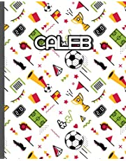 Caleb: Football themed Custom Name Wide Ruled Composition Notebook For Boys