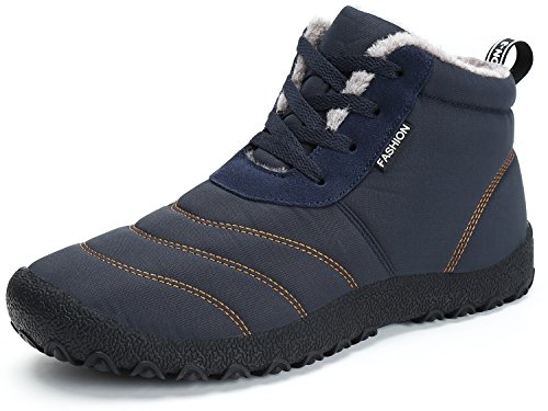 Dreamcity Men's Winter Snow Boots Waterproof Insulated Outdoor Shoes(Blue,11)