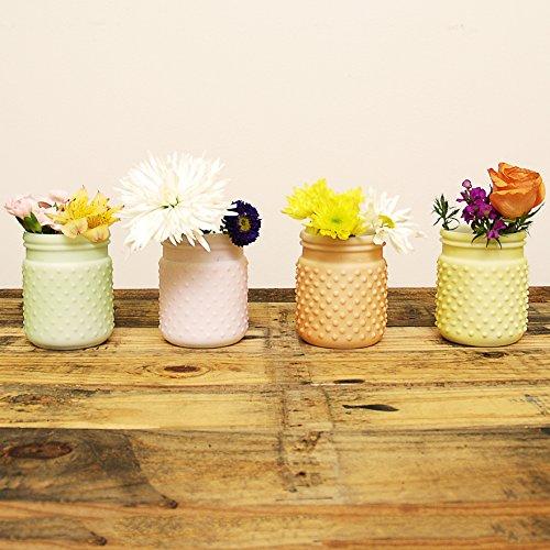 Sunday Morning Home Small Mixed Pastel Glass Hobnail Jar, Set of 4 (Hobnail Small Vase)