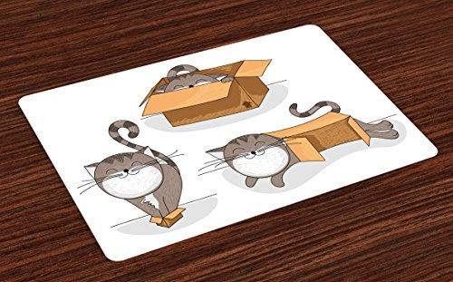 Ambesonne Cat Place Mats Set of 4, Cartoon Cat Trying Fit Different Sized Cardboard Boxes Domestic Companion, Washable Fabric Placemats for Dining Room Kitchen Table Decor, Brown Taupe