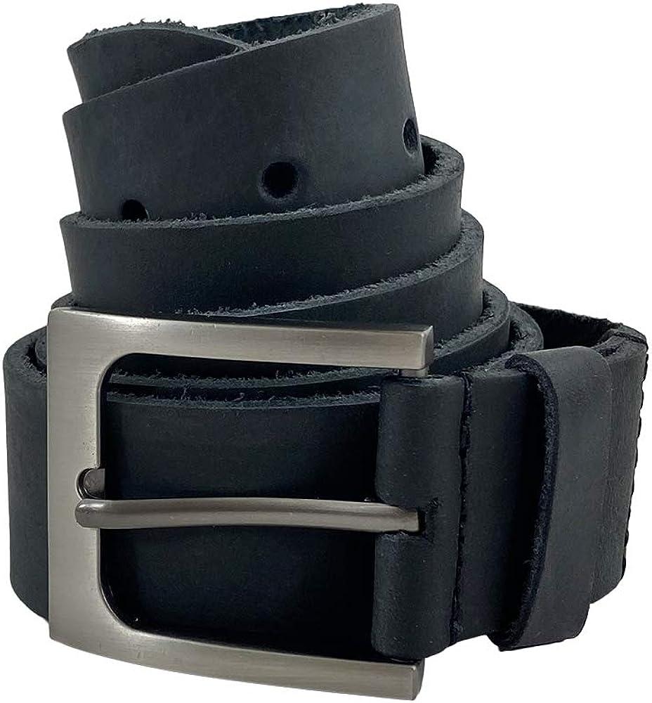 Hide & Drink, Men's Rustic Thick Leather Belt Handmade :: Charcoal Black