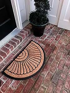 Fibra de coco natural antideslizante de la mitad círculo piso entrada Felpudo para interior/exterior
