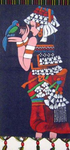 Batik Folk Art Painting 13x25