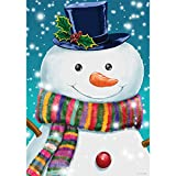 Striped Snowman – STANDARD Size, 28 Inch X 40 Inch, Decorative Double Sided Flag MADE IN USA by Custom Décor Inc.