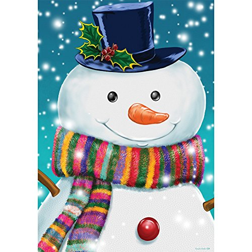 - Striped Snowman - STANDARD Size, 28 Inch X 40 Inch, Decorative Double Sided Flag MADE IN USA by Custom Décor Inc.