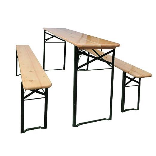 Mesa de jardín con 2 Bancos Madera de Pino 177 cm Mobiliario ...
