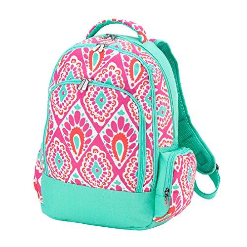 (Beachy Keen Pink Medallion 2 Piece Polyester Zippered Backpack & Lunch Box Bag Set)