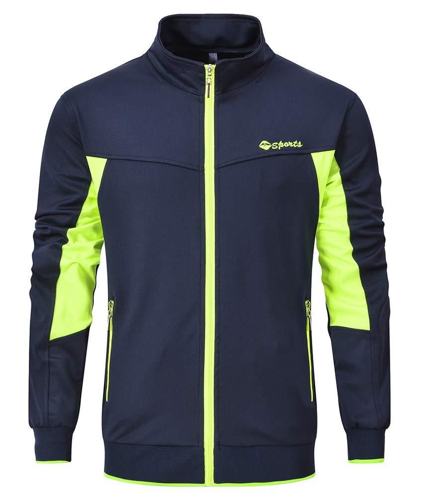 YSENTO Men's Activewear Track Jackets Full-Zip Golf Jackets Zipper Pockets