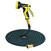 """Expandable Garden Hose, 50ft Expanding Extra Strength Stretch Fabric Lightweight Flexible Water Hose with 9 Pattern Spray Nozzle and 3/4"""" Brass Connectors Heavy Duty for Car Garden Pet – [Non Kink]"""