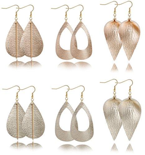 Dangle Leather (LOYALLOOK 3-6Pairs Teardrop Leather Earrings for Women Girls Genuine Leather Dangle Petal Leaf Drop Earrings set Gold+Rose)