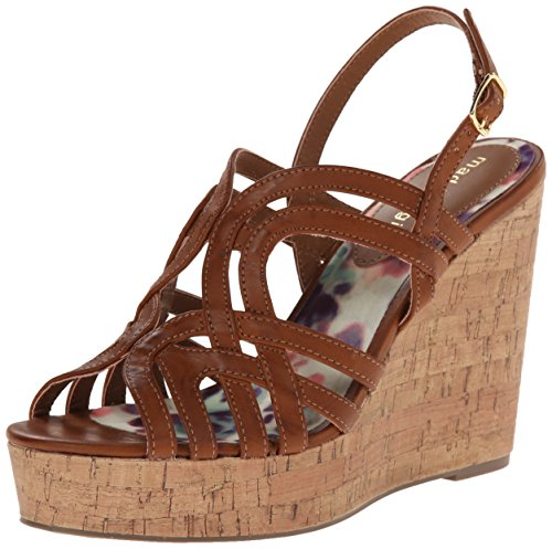 887865300243 - Madden Girl Women's Eliite Wedge Sandal, Cognac Paris, 10 M US carousel main 0