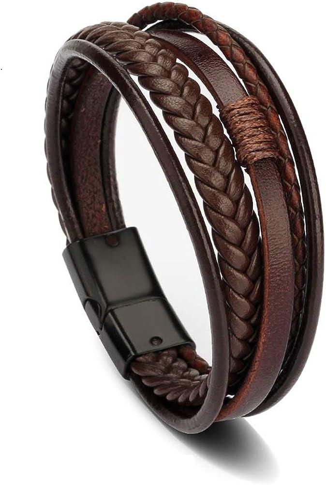 fermoir magn/étique noir Bracelet homme en cuir marron Moderne et /él/égant 20cm KATIXA