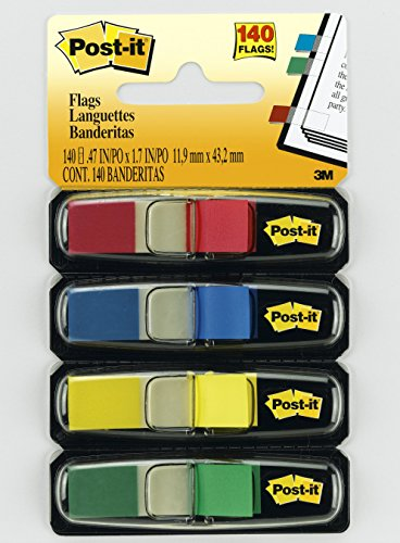 Post-it Flags, Ideal For Marking and Flagging Documents, Assorted Primary Colors, 1/2-Inch Wide, 35/Dispenser, 4-Dispensers/Pack (683-4)