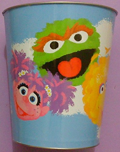 (123 Sesame Street Metal Trash Bin Wastebasket)