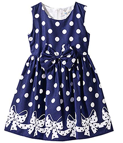 NNJXD Girl Sleeveless Polka Dotted Dress,Summer Casual Party Dress Size 5-6 Years Blue