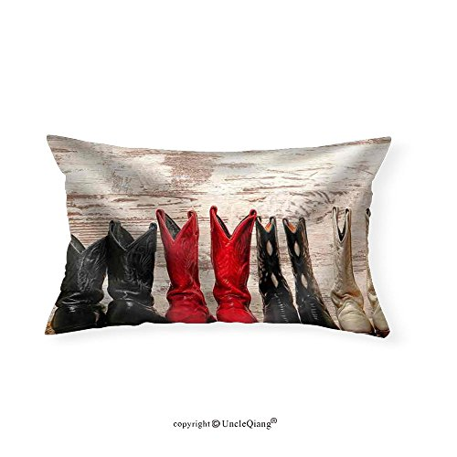 VROSELV Custom pillowcasesAmerican West Legend Cowgirl Leather Boots Rear Heel View in Straight Western Line - Fabric Home Decor(14
