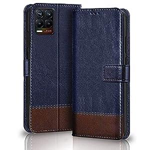 TheGiftKart Dual-Color Leather Finish Flip Back Cover for Realme 8/8 Pro | Inside Pockets & Inbuilt Stand | Wallet Style…