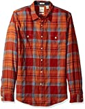 Dockers Men's Twill Long Sleeve Button Front Shirt, Red, X-Large