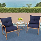Solaura Patio Outdoor Furniture 3 Piece Bistro Set Conversation Sofa Light Brown Coated Metal Frame Nautical Navy Blue Cushions & Glass Coffee Table