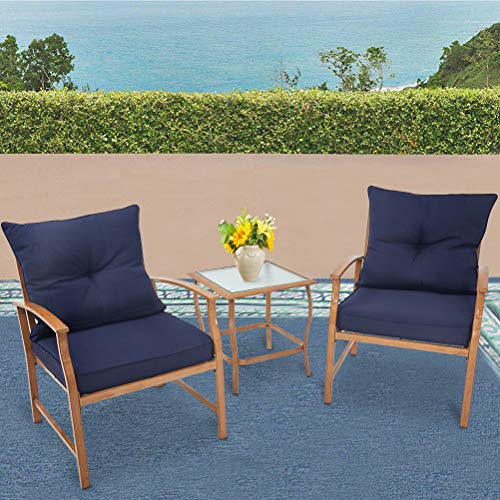 Solaura Patio Outdoor Furniture 3 Piece Bistro Set Conversation Sofa Light Brown Coated Metal Frame Nautical Navy Blue Cushions & Glass Coffee Table ()