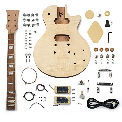 StewMac Build Your Own DIY LP-Style Electric Guitar Kit, with Flame Maple Top