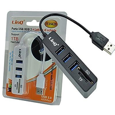 3Port USB 2.0Hub avec SD MS M2TF multi-en-1lecteur de carte adaptateur USB