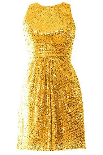 Promworld Damen rmellos Pailletten Kurz Abendkleider Gold zs46pZM7Q ...