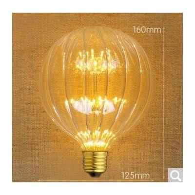 2x vintage Edison Ampoule Bulbled Arbre à vis E27SUPER Star Barre de KTV Look rétro Source de lumière G95,6, G125citrouille Super Star, le Jaune chaud