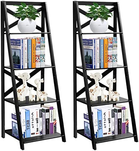 Tangkula 4-Tier Ladder Shelf Bookcase Set of 2