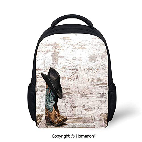 3D Traditional Rodeo Cowboy Hat and Cowgirl Boots in a Retro Grunge Background Art Photo Printing Fashion Grade School Backpacks,(12.2