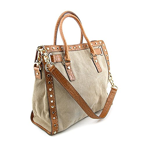 MICHAEL Michael Kors Pick Stitch Studded Large North South Tote in Hemp