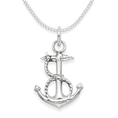 Sterling silver anchor necklace on 18 silver chain anchor rope sterling silver anchor necklace on 18quot silver chain anchor rope pendant size aloadofball Images